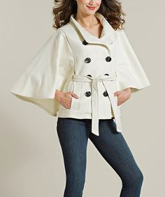 Another great find on #zulily! Cream Wool-Blend Cape-Sleeve Coat #zulilyfinds
