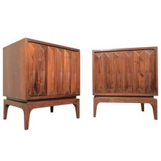 Pair Of Mid-Century Diamond Front Sculpted Nightstands | From a unique collection of antique and modern night stands at https://www.1stdibs.com/furniture/tables/night-stands/