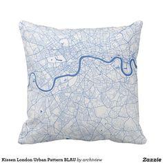 Kissen London Urban Pattern BLAU