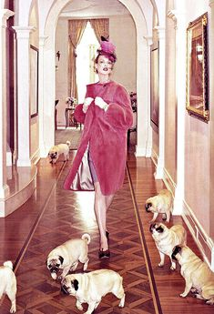 Linda Evangelista (in Vogue Italia) with Pugs! Linda Evangelista, Animal Photography, Fashion Photography, Pugs And Kisses, Cute Pugs, Pug Love, Pink Aesthetic, Pretty In Pink, Fur Babies