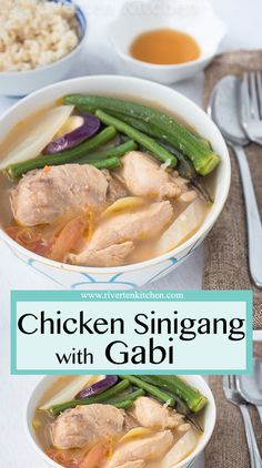 This Chicken Sinigang with Gabi is so easy and simple to make. The vegetables the chicken and the rich starchy sour soup go perfectly with rice on a cold rainy day. Filipino Soup Recipes, Filipino Vegetable Recipes, Asian Recipes, Filipino Dishes, Asian Foods, Pilipino Food Recipe, Phillipino Food, Sour Soup, Kitchens