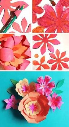 Paper flower tutorial at happythought.co.uk