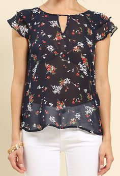 Ruffled Floral Coutout Top