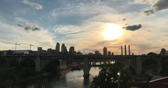 Summer sunset over the Mississippi River in downtown Minneapolis