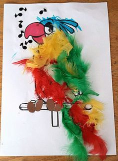 Craft category: Cut and paste: Parrot with real feathers – Knippen Most Beautiful Pictures, Cool Pictures, Crafts For Kids, Arts And Crafts, Cut And Paste, Blogger Themes, Parrot, Projects To Try, Presents