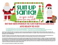 Suit Up Santa!  {an open ended game for any skill} Get Santa all dressed so he can take off on Christmas Eve!