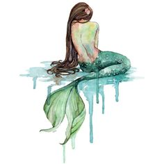 """Watercolor Mermaid Painting Print titled, """"The Mermaid Beach Decor,... (39 BRL) ❤ liked on Polyvore featuring home, home decor, wall art, water color painting, ocean watercolor paintings, ocean wall art, watercolour painting and beach scene paintings"""