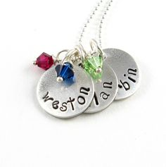 Personalized Mother's Necklace Silver Name Necklace Swarovski Crystal Birthstone Necklace Handstamped Childrens Names. $66.00, via Etsy.