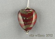Handmade Artisan Lampwork Bead  Silver by ritasbeaderynjewelry, $13.50