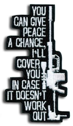 Give peace a chance patch -Save those thumbs & bucks w/ free  shipping on this magloader, Magazine loader  Speedloader http://www.amazon.com/shops/raeind