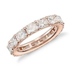 This diamond eternity ring showcases perfectly matched radiant-cut diamonds set in elegant 18k rose gold that dazzles from every angle. #ValentinesDay