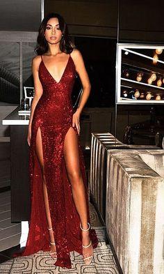 Sparkly Prom Dresses Burgundy V-neck Long Prom Dress with Slit Sexy Evening Dress Sparkly Prom Dresses, Backless Prom Dresses, Pretty Dresses, Sexy Dresses, Beautiful Dresses, Long Dresses, Red Prom Dresses, Red Formal Dresses, Prom Gowns