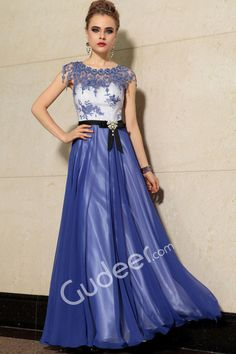 Flower Jewel Neck Floor Length A-Line Blue Illusion Evening Formal Dress