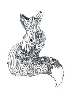 Zentangle Fox Coloring Page Kmotra Liska Color