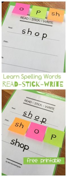 Read, Stick, Write method to learn spelling words! A hands-on method for students to practice spelling. Spelling Word Activities, Spelling Practice, Spelling Words, Phonics Activities, Writing Activities, Vocabulary Games, Vocabulary Strategies, Listening Activities, Spelling Homework