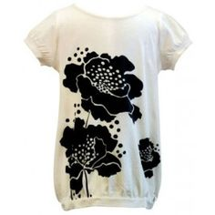 Kit + Lili :: On Sale! $28.50 Super soft tee with beautiful hibiscus printing on the front and back. Pair with cute bloomers, jean shorts or leggings and this shirt will be a go-to staple in the little one's wardrobe.     100 % Cotton    Made in India    Color: Cream with Black Hibiscus Pattern