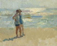 'Isaac' Lazarus Israels 1865-1934 Two Swimmers on the beach, Viareggio,