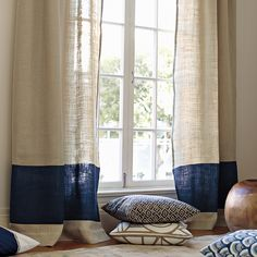 Color Block Window Panel in Navy.   So simple, so effortlessly chic. #serenaandlily