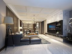 Living Room Inspo, Chic Interior, Tv Feature Wall, Ceiling Design, Contemporary Living Room Design, Model Homes, Interior Design, Home Decor, Contemporary Living