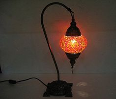 One Of A Kind Orange Mosaic Glass Table Lamp Turkish Glas... Http: