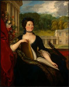 portrait of Mary Hamilton Beckford, painted in 1799 by Benjamin West. This graceful portrait is a formidable testament to the good breeding, aristocratic heritage and excellent taste of the sitter. The eye is drawn to the elegant house in the background and to the book of music on Mrs Beckford's lap, both carefully placed to ensure that any onlookers are made fully aware that they are in the presence of a lady who is both talented and well heeled.
