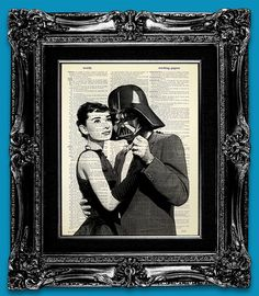 Darth Vader Star Wars Art Print Office Art, AUDREY HEPBURN Poster Hollywood Art Retro Star Wars Print on DICTIONARY Paper - Impossible Film