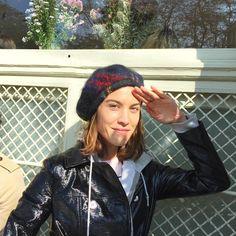 Alexa Chung -- grey hoodie & beret