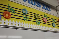 "Musical Note ""flowers"" from SPRING into SONG bulletin board."