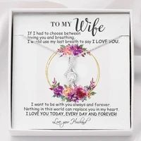 Perfect Gift For Wife Necklace With Message Card – Family Love Gifts Great Gifts For Wife, Love Gifts, Gifts For Husband, Thank You For Loving Me, Romantic Poems, Daughter Necklace, Ribbon Design, Best Love Quotes, Message Card