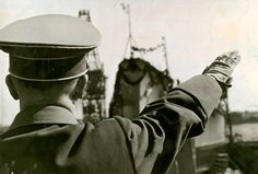 Hitler in 1939 at the launching of a ship.