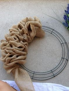 Burlap Wreath, how to. You can buy christmas printed burlap, Halloween print and other colors.