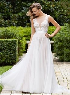 147.99 Beformal.com.au SUPPLIES Plus Size Elegant Tulle Scoop Tulle Beach Wedding Dress With Lace