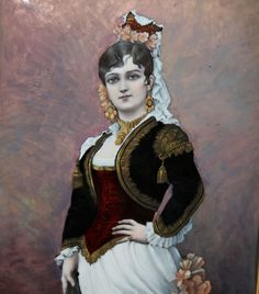French Enamel on Copper work of a painting of Galli Marie an opera singer (Carmen) who was born in 1840. The artist and maker is Th. Soyer, the great enamel company from France. This piece is in exceptional as made condition with a fabric frame matted around the portrait and then a detailed wooden frame with attached brass plaque that reads, 'Galli-Marie Par Th. Soyer'