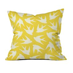 Brighten your bedspread, couch, or lounge chair with this vivid swarming sunburst of birds. This pillow features a double-sided print and a concealed zipper, and is custom made for every order. Get rea...  Find the Swarming Sunburst Throw Pillow, as seen in the Embrace Color With A Bright & Cheerful Living Room Collection at http://dotandbo.com/collections/jumpstart-january-embrace-color?utm_source=pinterest&utm_medium=organic&db_sku=99108