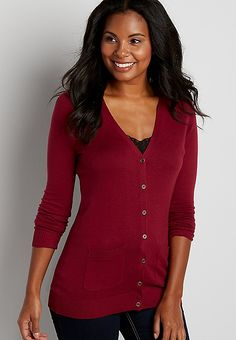 the classic boyfriend cardi in rose petal | maurices