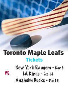 $138 and Up for Tickets to the Toronto Maple Leafs vs. New York Rangers on November 8 OR LA Kings on December 14 OR Anaheim Ducks on December 16 November 8, Anaheim Ducks, Best Deals Online, Toronto Maple Leafs, New York Rangers, Sports, Sport