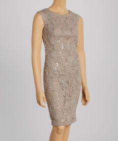 Love this Mocha Lace Sequin Sleeveless Dress - Petite by R&M Richards on #zulily! #zulilyfinds