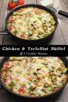 A quick & easy dinner, this Chicken and Tortellini Skillet is a one dish meal that is healthy and satisfying. Chicken, pasta & cheese is sure to please. Italian Pork Chops, Shrimp And Quinoa, Spinach And Cheese, Pasta Cheese, Chicken Tortellini, Cast Iron Recipes, Everyday Dishes, Quick Easy Dinner, Eating Organic