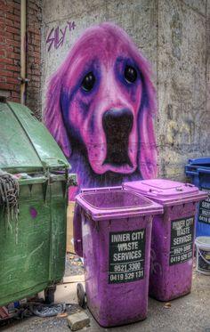 https://flic.kr/p/qqXig3   Purple puppy   Street art by Silly amongst the rubbish bins in a Melbourne laneway