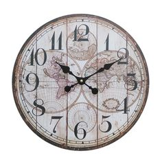 perla PD Design Metal Wall Clock With Glass Pane Vintage Design Old Town Painted Antique White Approx., Metal, map of the world Shabby Vintage, Style Vintage, Tabletop Clocks, Laque, Vintage Designs, Antiques, Google, Wall, Products