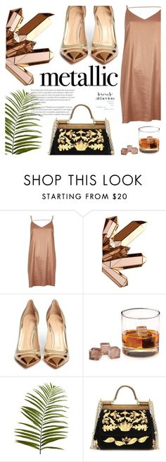 """""""Metallic dress"""" by inthetimelessness ❤ liked on Polyvore featuring River Island, Gianvito Rossi, Pier 1 Imports and Dolce&Gabbana"""