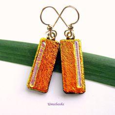 Tangerine Day Dreams Metallic Orange Handmade by 2GlassThumbs