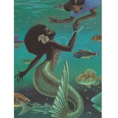 I love all fantasy and mythical stuff, but my favorite ones are mermaids.So this is a collection of mermaid images I've been picking all over the internet. Black Girl Art, Black Women Art, Black Art, Art Girl, Girl Artist, Black Mermaid, Mermaid Art, African American Art, African Art