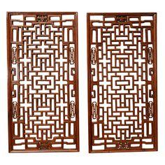 Pair of Chinese Lattice Window Panels