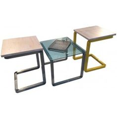 L_CONVERSATION low composition with two stools and one table with metal frame cm. 45x45x50h