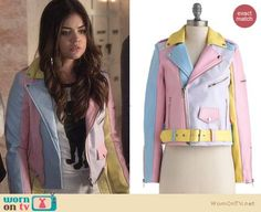 Aria's pastel colorblock leather jacket and cat tee on Pretty Little Liars.  Outfit Details: http://wornontv.net/23443/ #PLL