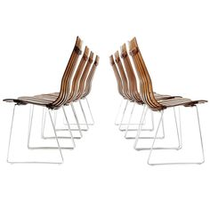Set of 8 dining chairs by Hans Brattrud - model Scandia, Norway