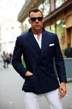 Love the blazer and shirt, although I'd substitute the trousers with biege chinos.