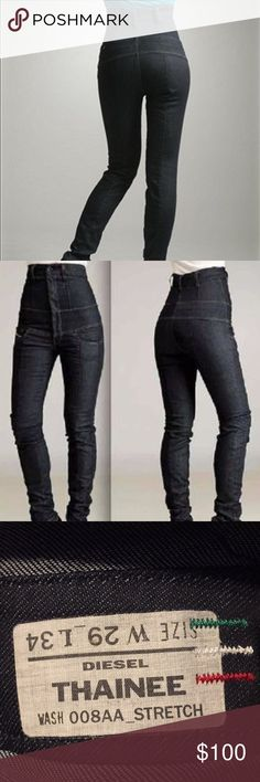 Womens High Waisted Jeans Diesel Thainee 29 W 34 L Like New. Form fitting super cute on!  Ready to ship!  Dark Blue Denim. Diesel Pants Skinny