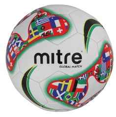 #Mitre Global Match #5 #Soccer Ball - Unique graphics specifically designed to commemorate the #FIFA World Cup • Official size, 30 panel sewn construction • Soft synthetic cover for super feel and playability • Multi-ply layers gives it consistent shape and rebound • Molded high air retention bladder ($9.95)